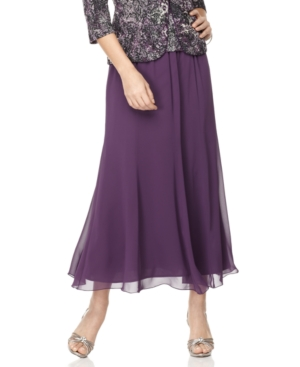 Alex Evenings Skirt, Tea Length Chiffon Evening