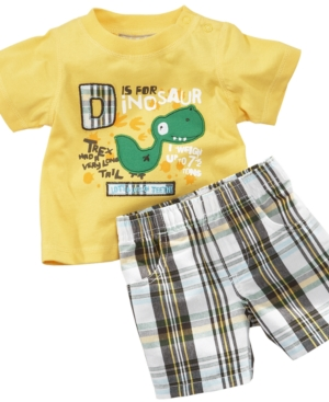 Kids Headquaters Baby Set, Baby Boys Dino Tee and Plaid Shorts