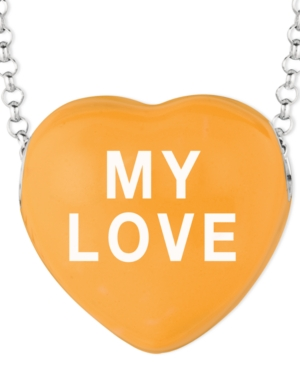 Sweethearts Sterling Silver Necklace, Orange My Love Heart Pendant