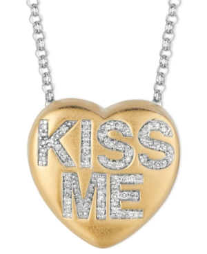 Sweethearts Diamond Necklace, 14k Gold over Sterling Silver Diamond Kiss Me Heart Pendant (1/6 ct. t.w.)