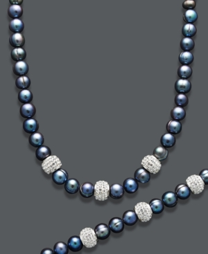 Pearl Jewelry Set, Sterling Silver Multicolor Cultured Freshwater Pearl (6-8 mm) and Crystal Strand Necklace and Bracelet