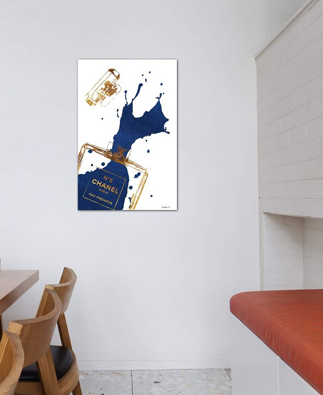 """iCanvas """"Gold Perfume Bottle With Navy Blue Splash"""" by Amanda Greenwood Gallery-Wrapped Canvas Print (26 x 18 x 0.75)"""