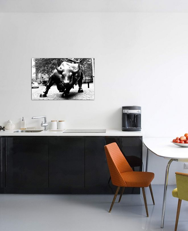 """iCanvas """"Wall Street Bull Black & White"""" Gallery-Wrapped Canvas Print (18 x 26 x 0.75)"""