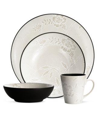 Noritake Dinnerware, Colorwave Graphite Bloom 4 Piece Place Setting