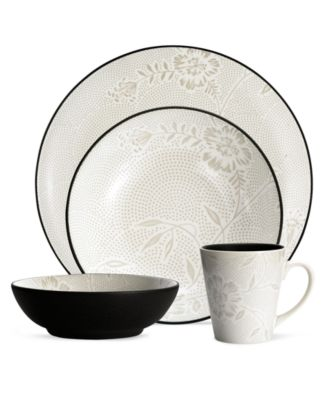 Noritake Dinnerware, Colorwave Graphite Bloom 4 Piece Place Setting