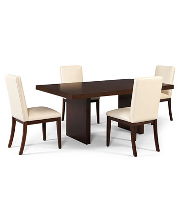 Corso Dining Furniture 5 Piece Set Table And 4 White Chairs Furniture