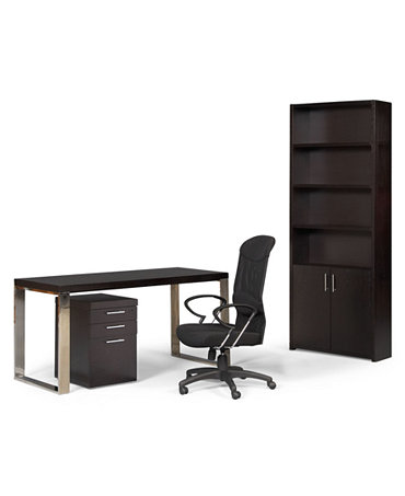 Stockholm Home Office Furniture, 4 Piece Set (Desk, Chair, File