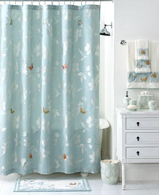 Martha stewart collection mariposa shower curtain bathroom accessories bed bath macy 39 s Martha stewart bathroom collection