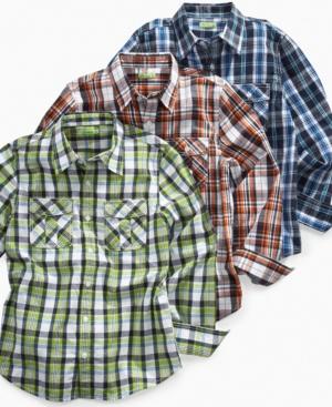 82Zero Greendog Kids Shirt, Boys Long Sleeve Plaid Shirt