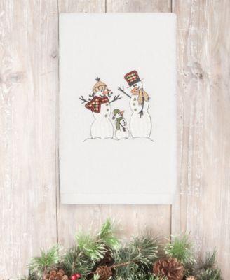 CLOSEOUT!  Christmas Snow Family 100% Turkish Cotton 2-Pc. Hand Towel Set