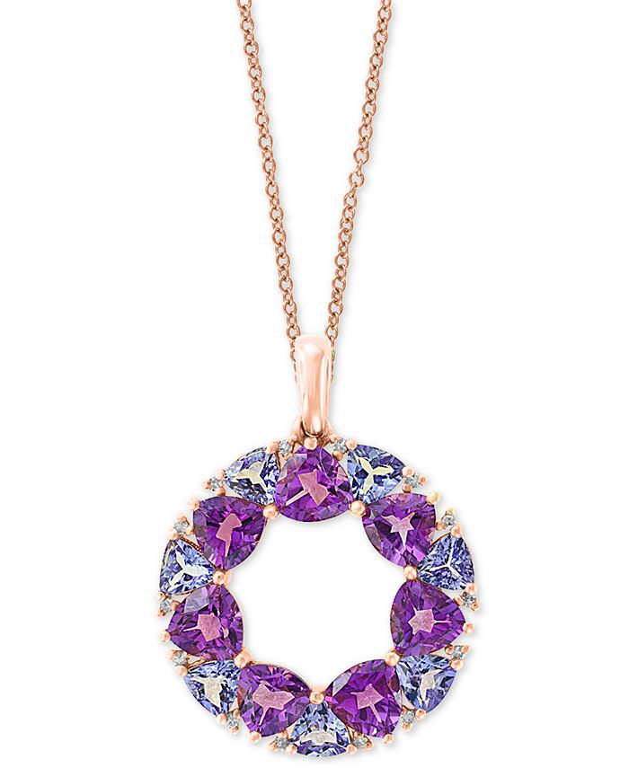 """EFFY Collection - Multi-Gemstone (4-1/4 ct. t.w.) & Diamond Accent Wreath 18"""" Pendant Necklace in 14k Rose Gold"""