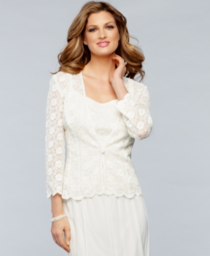 Alex Evenings Jacket and Cami, Three Quarter Sleeve Scalloped Sequin Crochet Lace