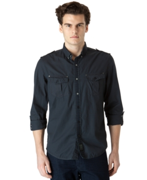 Calvin Klein Jeans Shirt, Solid Military Shirt