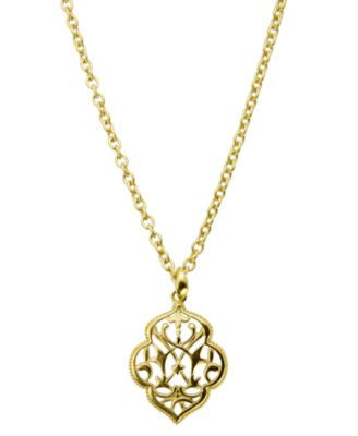 T Tahari Necklace Gold Tone Filigree Pendant