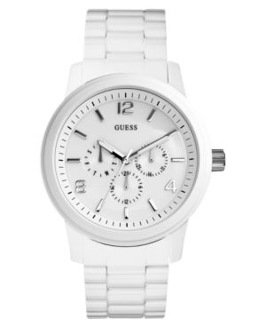 GUESS Watch, Men's White Stainless Steel Bracelet 45mm U15090G1
