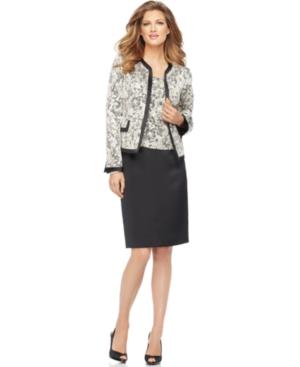 Kasper Suit, Floral Jacquard Collarless Jacket, Cami & Pencil Skirt