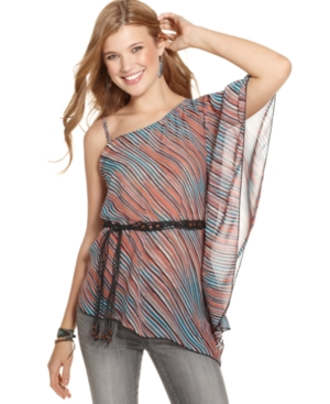 6 Degrees Top, Short Batwing Sleeve Striped Belted Asymmetrical Chiffon