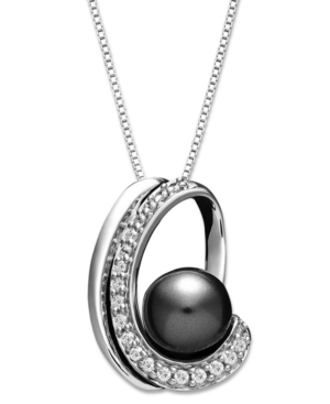 Sterling Silver Necklace, Grey Cultured Freshwater Pearl (8 mm) and Diamond (1/4 ct. t.w.) Swirl Pendant