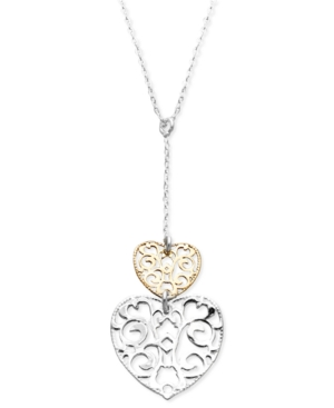 Giani Bernini Sterling Silver and 24k Gold over Sterling Silver Necklace, Filigree Double Heart Pendant