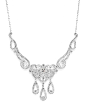 Eliot Danori Necklace, Silver Tone Victorian Crystal Frontal Necklace