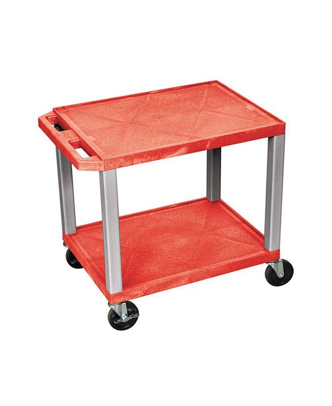 "Clickhere2shop 26"" 2 Flat Shelves AV Electric Cart Nickel Legs"