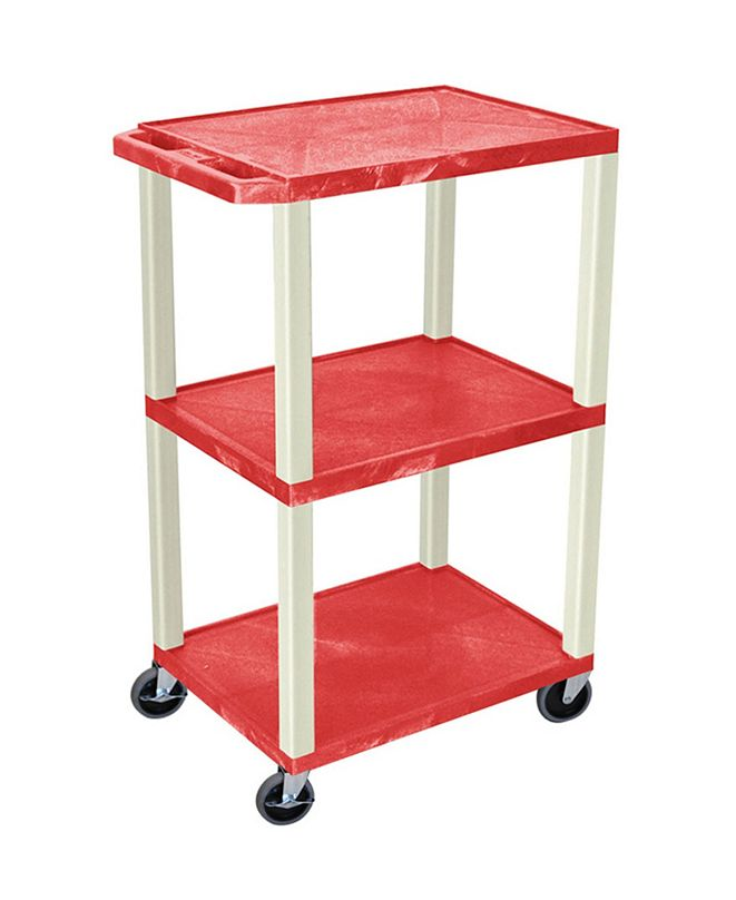 "Clickhere2shop 42"" Three Flat Shelves AV Electric Cart - Putty Legs, Red"