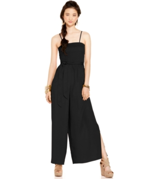 American Rag Jumpsuit, Sleeveless Belted Smocked Wide Leg Palazzo