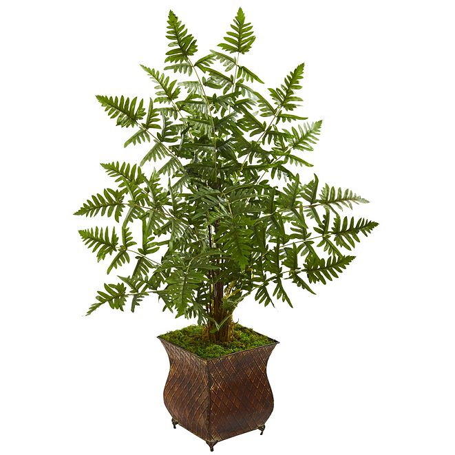 Nearly Natural Ruffle Fern Artificial Palm Tree in Metal Planter