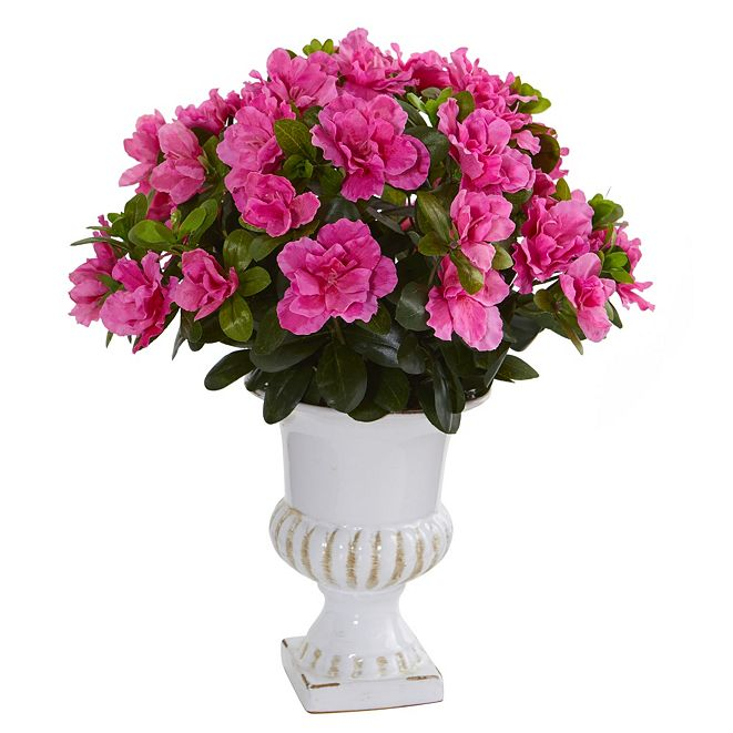 Nearly Natural Azalea Artificial Plant in White Urn