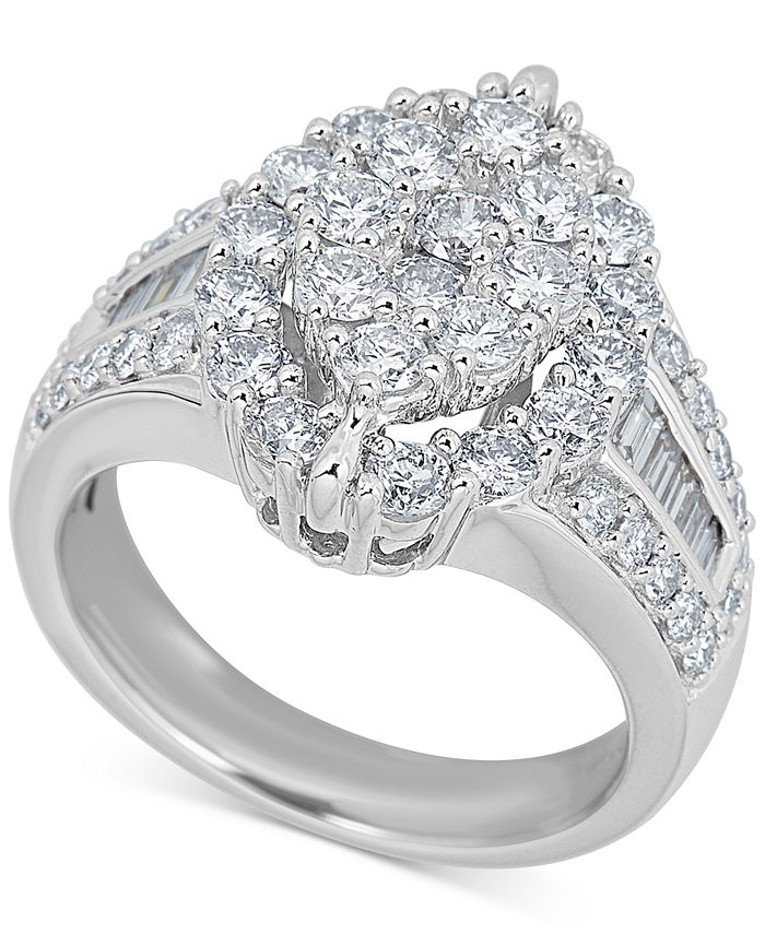 Macy's - Diamond Oval Cluster Ring (2 ct. t.w.) in 14k White Gold