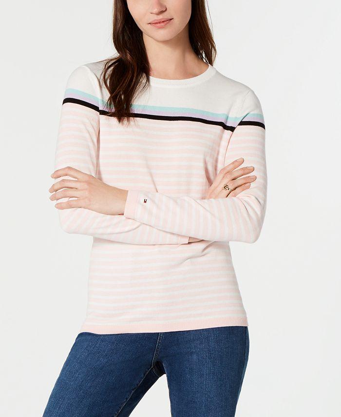 Tommy Hilfiger - Cotton Striped Crewneck Sweater