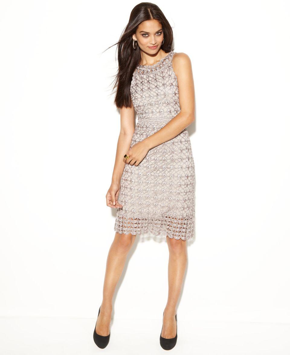 INC International Concepts Dress, Sleeveless High Neck Crochet Lace Sheath   Dresses   Women