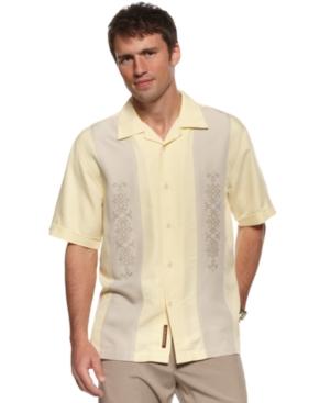 Cubavera Shirt, Ornate Panel Short Sleeve Shirt