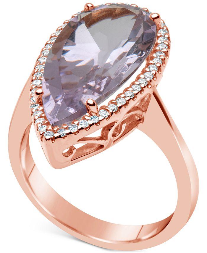 Macy's - Amethyst (7 ct. t.w.) & Diamond (1/4 ct. t.w.) Ring in 14k Rose Gold