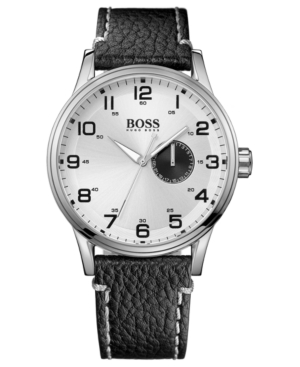 Hugo Boss Watch, Men's Black Leather Strap 44mm 1512722
