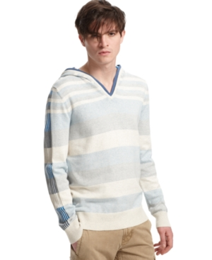 Bar III Sweater, Rick Hooded Stripe Sweater