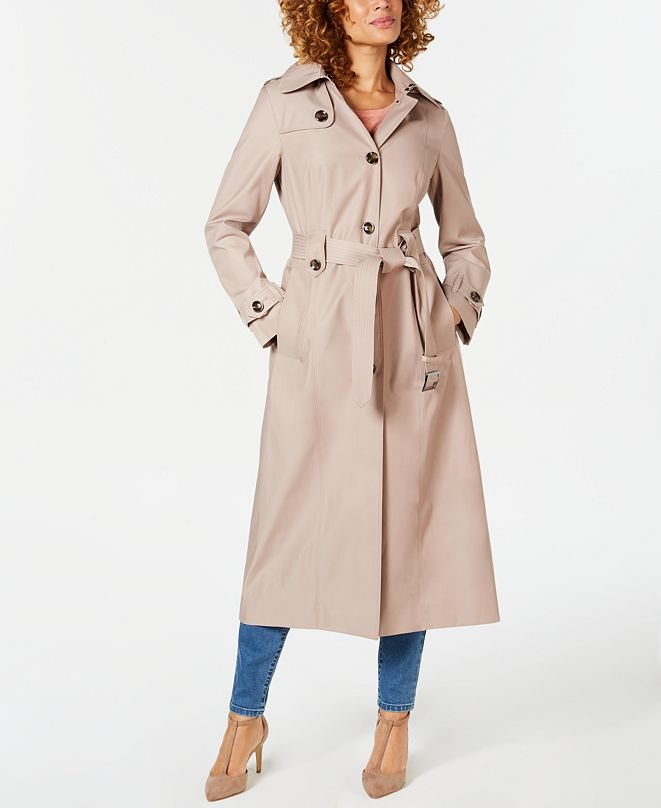 London Fog Petite Water-Repellent Hooded Trench Coat