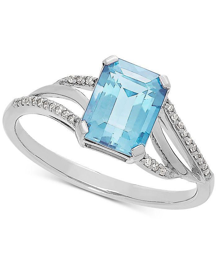 Macy's - Aquamarine (1-3/8 ct. t.w.) & Diamond Accent Ring in 14k White Gold