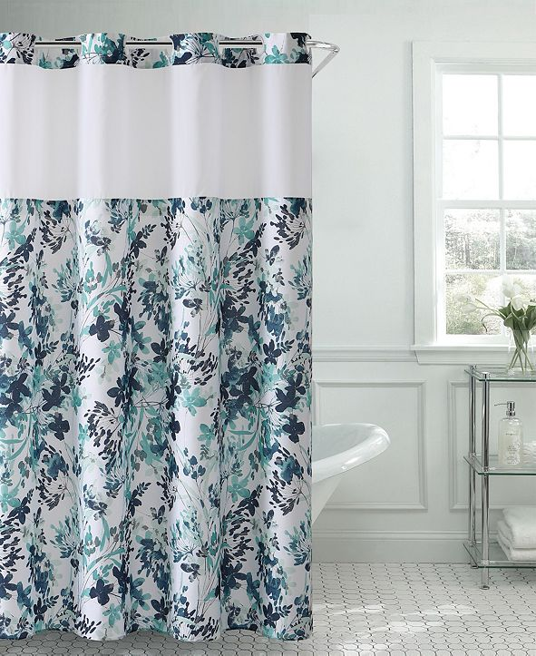 Hookless Water Color Floral 3-in-1 Shower Curtain