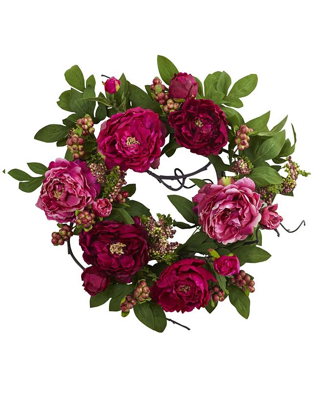 """Nearly Natural 20"""" Peony and Berry Wreath"""