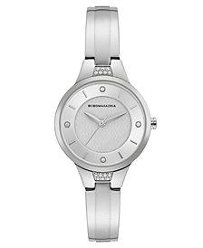 BCBGMAXAZRIA Ladies Silver Bangle Bracelet Watch with Silver Dial, 32mm