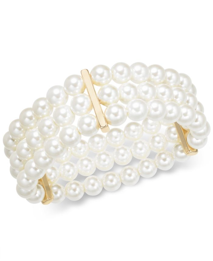 Charter Club Gold-Tone Imitation Pearl Triple-Row Stretch Bracelet, Created for Macy's  & Reviews - Bracelets - Jewelry & Watches - Macy's