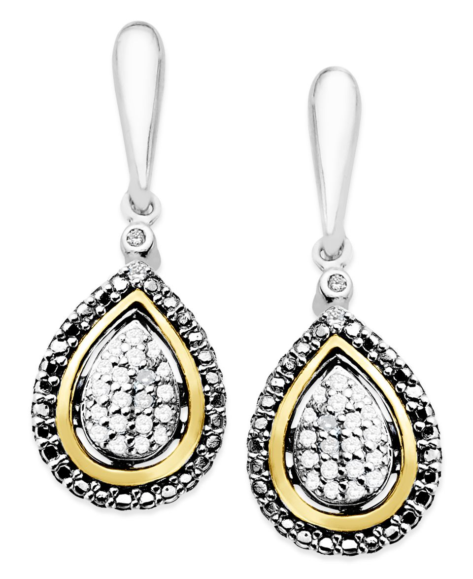 14k Gold and Sterling Silver Earrings, Diamond Leverback Earrings (1/10 ct. t.w.)   Earrings   Jewelry & Watches