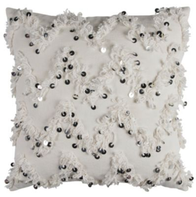 "20"" x 20"" Textured Fringe and Sequinned Pillow Cover"
