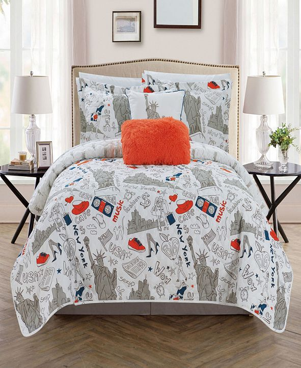 Chic Home New York 4 Piece Twin Quilt Set