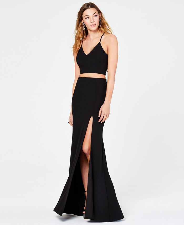 B Darlin - Juniors' 2-Pc. Lace-Back Slit Gown