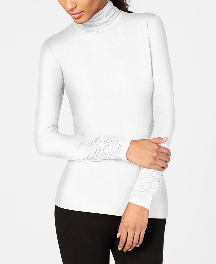 Alfani - Long-Sleeve Ruched Turtleneck Top