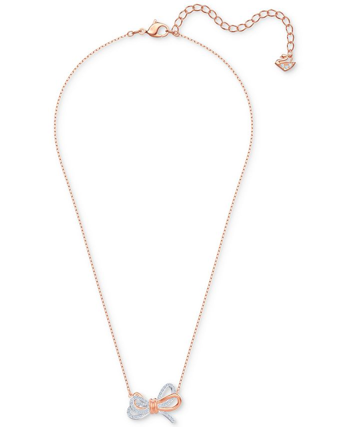 "Swarovski - Two-Tone Pavé Bow 15-2/3"" Pendant Necklace"