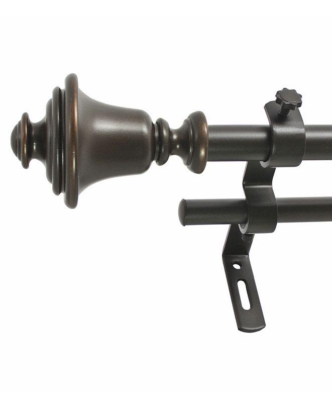 Decopolitan Montevilla 5/8-Inch Bell Double Telescoping Curtain Rod Set, 26 to 48-Inch, Vintage Bronze