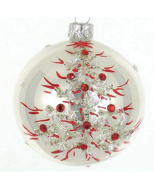 Badash Crystal White With Red Leaves 4 Pc Set Of Mouth Blown Hand Decorated European Glass 4 Round Holiday Ornaments Reviews Holiday Shop Home Macy S